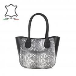 Vásárlás  Made in Italy Hüllő mintás olasz bőrtáska Elia - fekete ... 582001b822