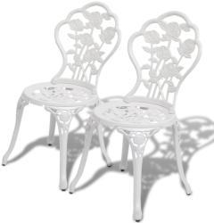 vidaXL Бистро столове, 2 бр, лят алуминий, бели (43176)