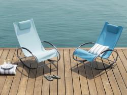 Beliani Modern kerti szék hintafunkcióval kék CAMPO