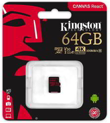 Kingston microSDXC Canvas React 64GB C10/U3/V30/A1 SDCR/64GBSP