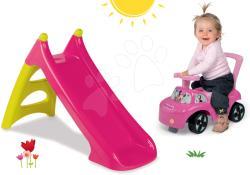 Smoby Set tobogan Smoby XS cu lungime de 90 cm și babytaxiu Minnie Auto 2in1 de la 24 luni (SM310282-2)