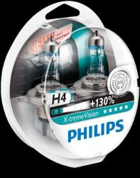 Philips Set 2 becuri Philips H4 X-tremeVision Plus (+130% lumina) 12V 60/55W 12342XV+S2