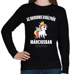printfashion Unikornis királynők márciusban születtek (MAGYAR) - Női pulóver - Fekete