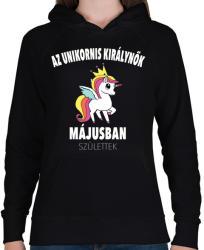 printfashion Unikornis királynők májusban születtek (MAGYAR) - Női kapucnis pulóver - Fekete
