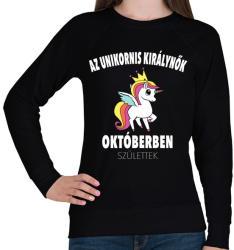 printfashion Unikornis királynők októberben születtek (MAGYAR) - Női pulóver - Fekete