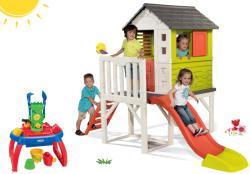 Smoby set căsuţă de copii pe piloni Pilings House cu tobogan de 1, 5 m și nisipar cu măsuță de joacă pentru apă şi nisip 810800-30 (SM810800-30)