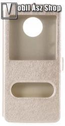Műanyag védő tok / hátlap - ARANY - oldalra nyíló ablakos flip cover, asztali tartó funkció, mágneses záródás, hívásfelvétel - MOTOROLA Moto G6 (2018)