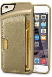 HQ Husa APPLE iPhone 66S - Slot Card Piele (Auriu)