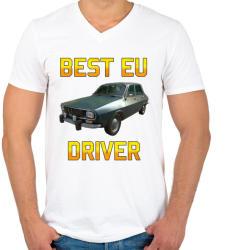 printfashion PUBG - Best EU Driver - Férfi V-nyakú póló - Fehér