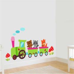 BeKid Stickere perete copii Trenulet la plimbare - 150x56 cm Decoratiune camera copii