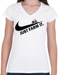 printfashion Just farm it - Női V-nyakú póló - Fehér