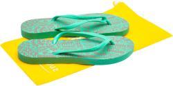 Suavesoles Papuci plastic plaja cu flip-flop, 3 seturi barete si husa depozitare Suavesoles, cu motive florale, Verde, pentru femei