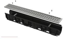 Alcaplast Rigola exterioara de 1000 mm cu rama din plastic integrata si gratar galvanizat (ACP-AVZ102-R103)