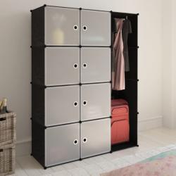 vidaXL Модулен гардероб с 9 отделения, черно/бяло, 37 x 115 x 150 см (240497) - vidaxl