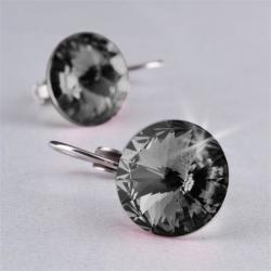 Art Crystella Fülbevaló, francia kapcsos, SWAROVSKI? kristállyal, black diamond, 12 mm, ART CRYSTELLA (RSWF036)