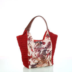 KBAS Geantă din rafie sintetică cu model floral Kbas roşu KB215801R