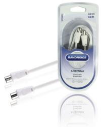 Bandridge Cablu coaxial 3C2V tata la mama mufe drepte 3m alb Bandridge (VVL8803)