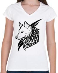 printfashion Wolf Black - Női V-nyakú póló - Fehér
