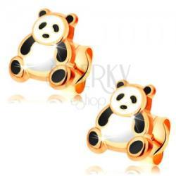 585 arany fülbevaló, fénymázas fekete-fehér panda, stekkerek