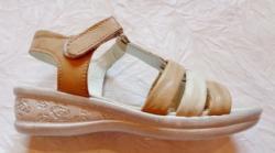 BabyRe Sandale copii Miky - piele naturala marca BabyRe bej/alb
