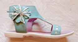 BabyRe Sandale copii Flower - piele naturala marca BabyRe turcoise