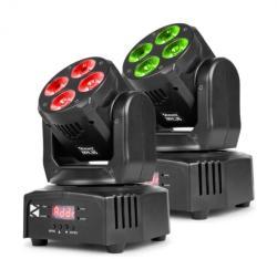 Beamz MHL36 комплект подвижна глава 2 LED прожектора 4x9W 4-в-1 LED RGBW 4 шоута черен (150.532) (150.532) - electronic-star