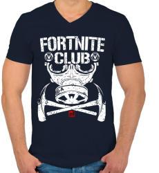 printfashion Fortnite Club - Férfi V-nyakú póló - Sötétkék
