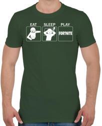 printfashion Eat, Sleep, Play Fortnite - Férfi póló - Katonazöld