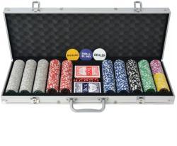 vidaXL Set de poker cu 500 de jetoane cu laser din aluminiu (80184) - vidaxl