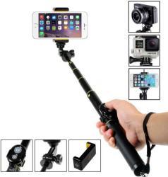Селфи стик подходящ за GoPro камера и телефони iPhone, Samsung, HTC, LG, Sony - черен