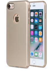 Meleovo Carcasa iPhone 8 Meleovo 360 Shield Gold (culoare metalizata fina, captuseala din microfibra) (MLVSHIPH8GD)