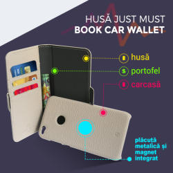 Just Must Husa Samsung Galaxy Note 8 Just Must Book Car Wallet Pink (carcasa interior detasabila) (JMCWN8PK)