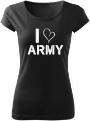 O&T tricou dame i love army, negru 150g/m2