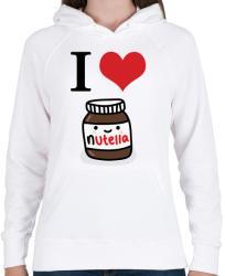 printfashion I love nutella - Női kapucnis pulóver - Fehér