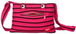 Zip-it Geanta de umar Monsters, roz begonie cu fermoar negru, 30 cm, Zipit ZBDM-3 (ZBDM-3)