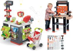 Smoby Set supermarket cu cărucior de cumpărături Supermarket Smoby şi bancă de lucru Black+Decker cu aparat de găurit (SM350213-11)