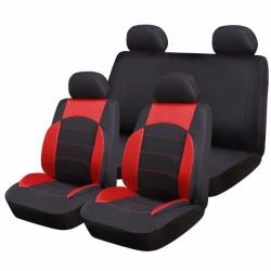 RoGroup Huse Scaune Auto Ford Mondeo - RoGroup Sport Line Rosu, pentru bancheta rabatabila, 9 Bucati