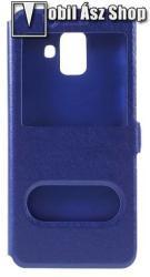 Műanyag védő tok / hátlap - KÉK - oldalra nyíló ablakos flip cover, asztali tartó funkció, mágneses záródás, hívásfelvétel - SAMSUNG SM-A600F Galaxy A6 (2018)