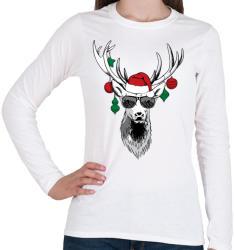printfashion Karácsonyi party szarvas - Női hosszú ujjú póló - Fehér