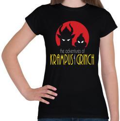 printfashion Krampusz és Grincs - Női póló - Fekete
