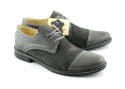 Lucianis style Pantofi gri barbati casual - eleganti din piele naturala (858G)