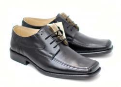 Lucianis style Pantofi negri eleganti barbatesti din piele naturala cu siret - Made in Romania (805S)