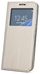 Smart Look Huawei P20 Lite oldalra nyíló bőrhatású ablakos könyv tok szilikon belsővel arany