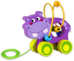 Tooky Toy Húzható fajáték golyóvezetővel - Víziló