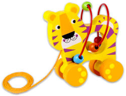 Tooky Toy Húzható fajáték golyóvezetővel - Tigris