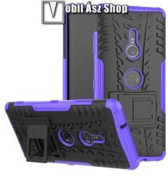 OTT! VROOM műanyag védő tok / hátlap - LILA - AUTÓGUMI MINTÁS - szilikon betétes, asztali tartó funkciós, ERŐS VÉDELEM! - Sony Xperia XZ3