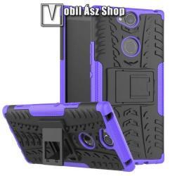 OTT! VROOM műanyag védő tok / hátlap - LILA - AUTÓGUMI MINTÁS - szilikon betétes, asztali tartó funkciós, ERŐS VÉDELEM! - SONY Xperia XA2 Plus