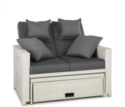 Blumfeldt Komfortzone Rattan-Lounge-Sofa rattan kanapé polyrattan kihajtható asztalokkal