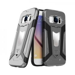 krasscom Husa antisoc cu stand metalic pentru suport magnetic Samsung Galaxy S7, gri (ARMOR001) - vexio