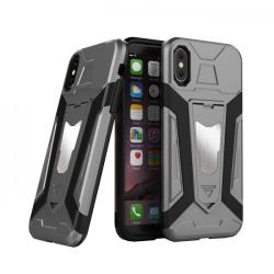 krasscom Husa antisoc cu stand metalic pentru suport magnetic iphone X / XS, gri (ARMOR012) - vexio